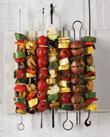 vegetable kebabs - use mushrooms, haloumi cheese, tiny tomatoes, red capsicum, green capsicum, yellow capsicum, red salad onion, marinated tofu.  Thread onto skewer and brush with satay sauce.  Cook on barbecue - basting through the cooking process.  Delicious!