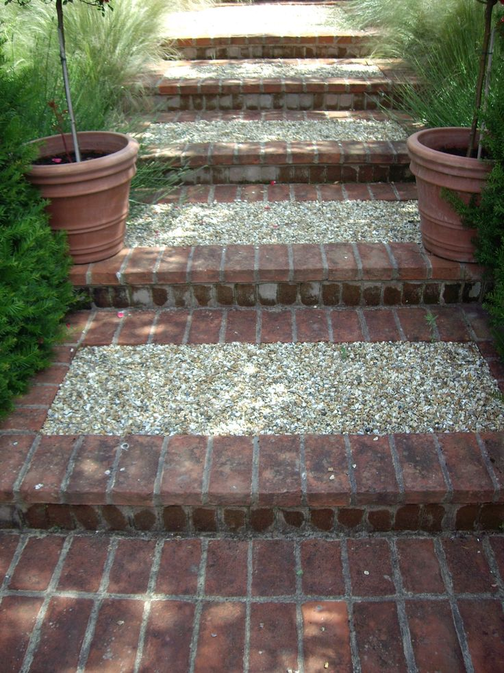 Shallow Brick And Gravel Steps Garden Steps Outdoor