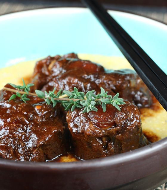 Savory Braised Oxtail with Preserved Lemon Polenta (Ming Tsai recipe) - Lots of prep and ingredients but very worth it.  Oxtail is nutrient-rich and packed with protein.  Serving with polenta was a great idea but I just used regular polenta.  I'm going to reuse the leftover sauce and slow-cook a pot roast with it.