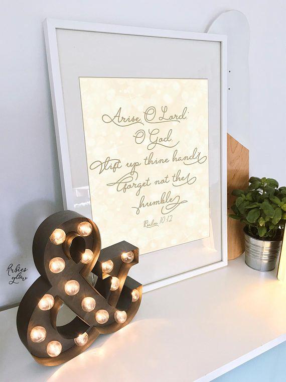 Arise O Lord - Psalm 10:12 - Bible decor art printable - Modern typography - Gold Bokeh Lights - Instant download - Christian -Digital art-