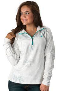 Ariat Women's White Kryptek Camo Long Sleeve 1/4 Zip Pull Over Jacket | Cavender's