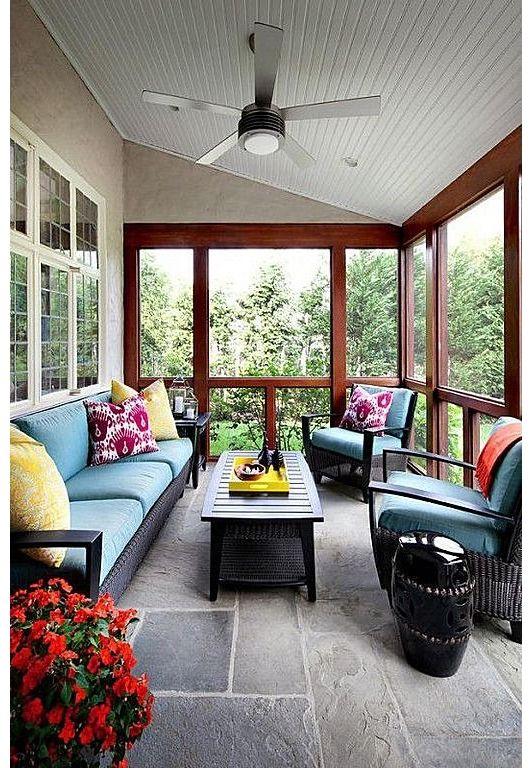 Modern Patio With Wicker Furniture