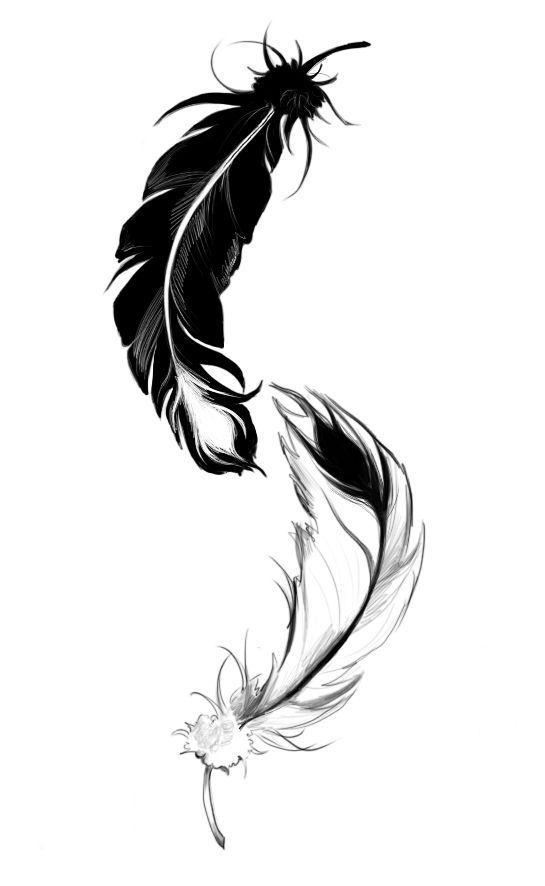 """Résultat de recherche d'images pour """"tatouage plume ying yang"""""""