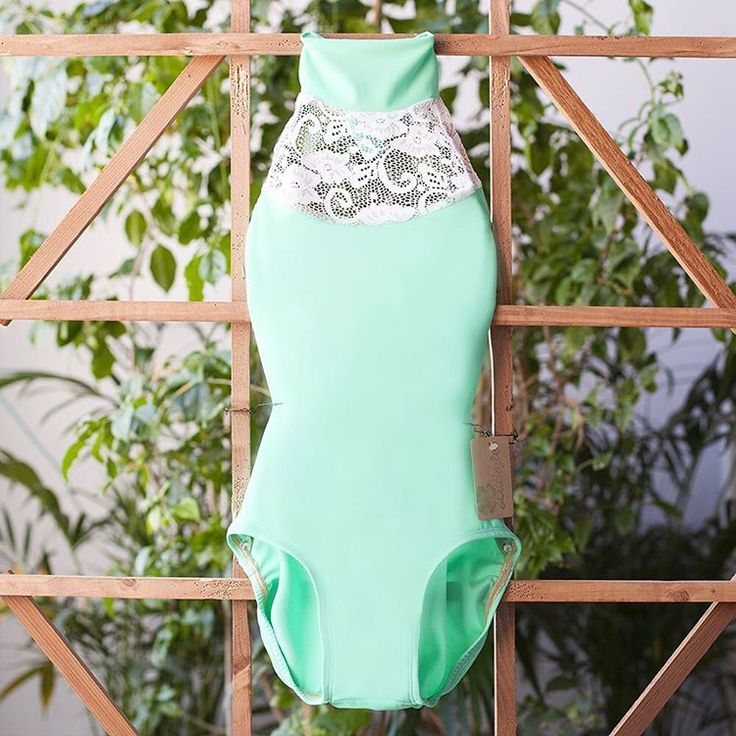 Collar leotard for dance handmade with seafoam spandex and white lace! SOOOOO CUTE ! ! ! ! !
