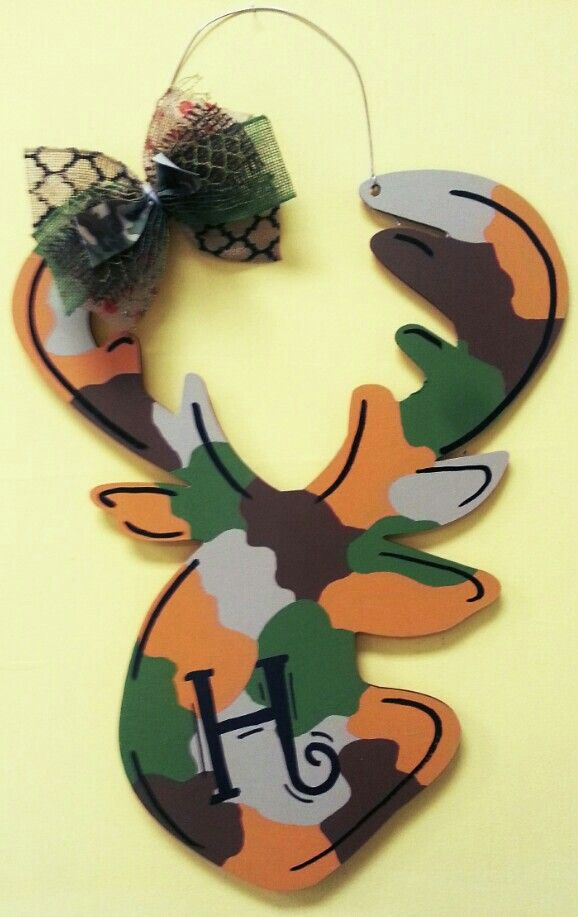 Wooden Door Hanger Deer Head ○ Camouflage Door Hanger ○ Country Charm  Wooden Door Hanger ○