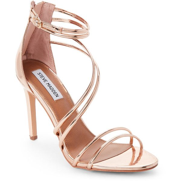 Steve Madden Fico Tube Strap High Heel Sandals (885 MXN) ❤ liked on Polyvore featuring shoes, sandals, red, red heeled sandals, strap heel sandals, steve madden shoes, red high heel shoes and high heels sandals