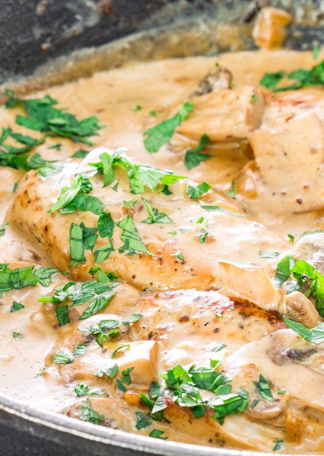 chicken in white wine sauce with mushrooms