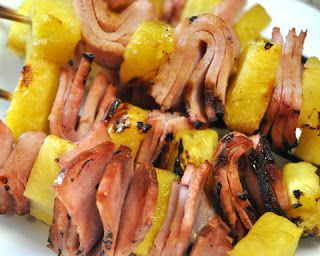 Ham Pineapple Kabobs Source: http://goodenessgracious.com Ingredients Ham cubes (or slices) Pineapple (pre-heat if fresh) Skewers 1/4 Cup Pineapple Juice (pre-heat if fresh) 2 T Soy Sauce 2 T Brown Sugar Ginger to taste Place ham and pineapple on skewers.Instructions Mix juice with remaining ingredients. Marinate for 2 hours. Baste on the grill Grill until heated through