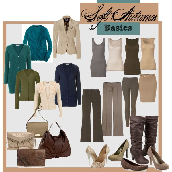 Basic items for my mother who is a soft autumn. (And who likes tank tops and cardigans.)