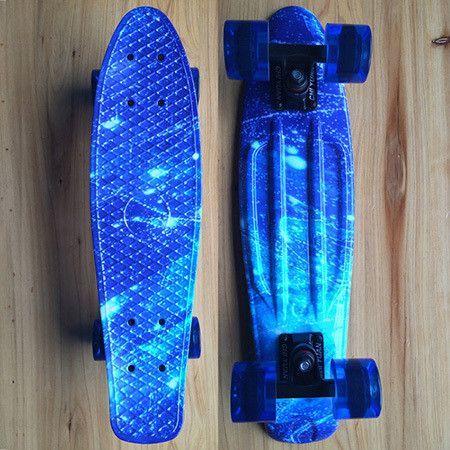 "CHI YUAN Galaxy Graphic Printed Mini Cruiser Plastic Skateboard 22"" X 6"" Retro Longboard Skate Long Board"