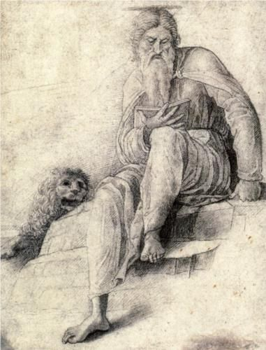 Saint Jerome reading with the Lion - Andrea Mantegna