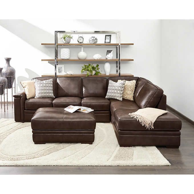 Alandro Brown Top Grain Leather Sectional with Pull-out Bed and Storage  Ottoman - 25+ Best Ideas About Leather Ottoman With Storage On Pinterest