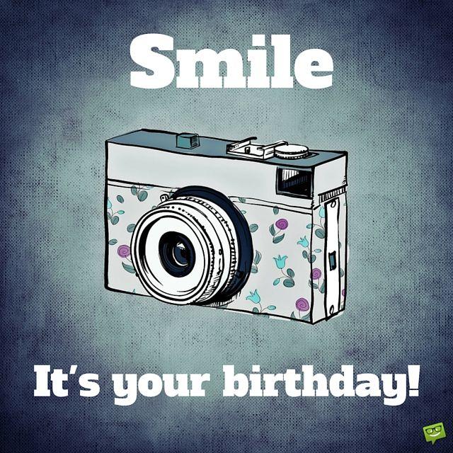 Retro Happy Birthday Picture with camera.: