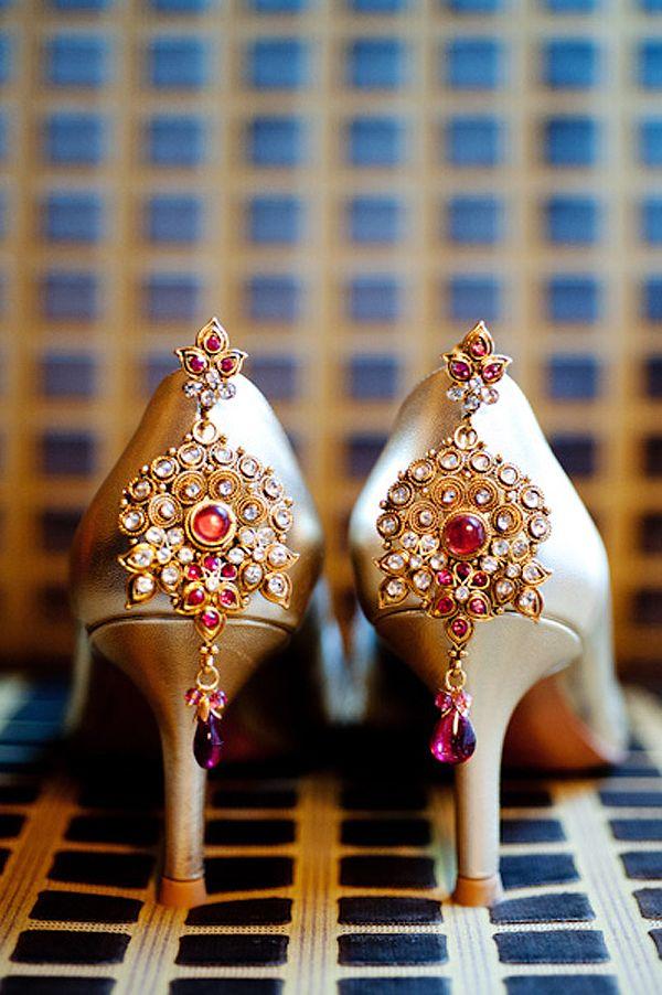 DIY footwear! Source: Boston, MA Indian Fusion Wedding by Shang Photography | MaharaniWeddings.com