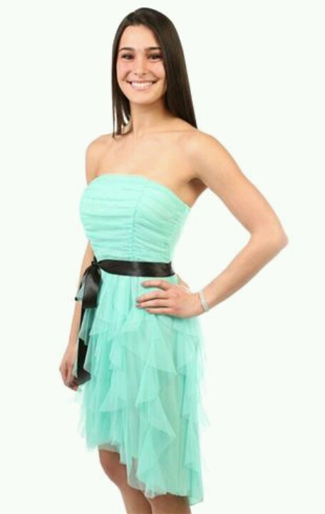 This is the dress I'm wearing to the 8th grade formal except mine has a silver ribbon instead of black