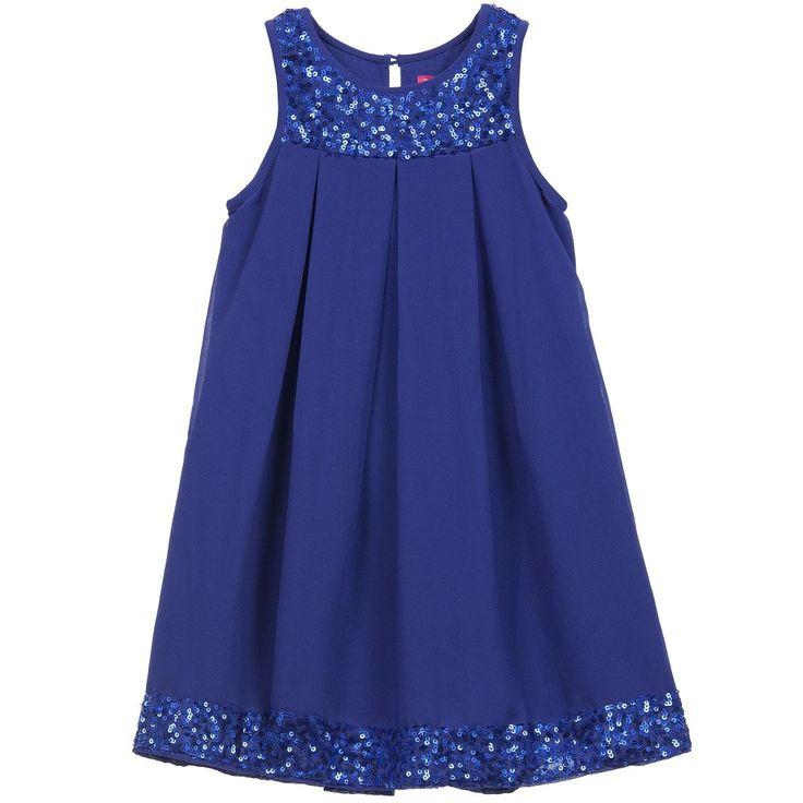 Royal Blue Chiffon Dress with Sequins Trim, Derhy Kids, Girl