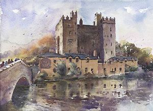 Castle Painting - Bunratty Castle Reflections County Clare by Keith Thompson