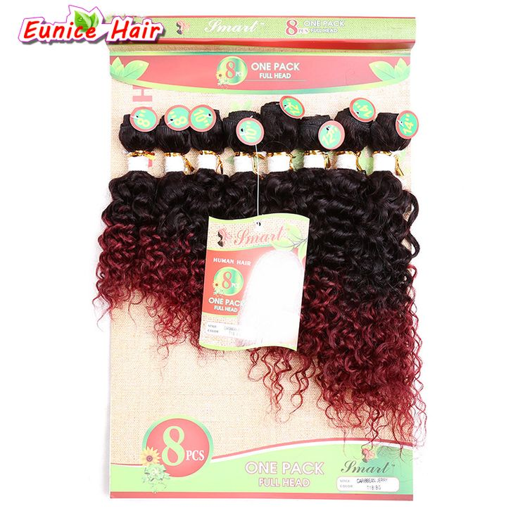 One Pack 8-14inch Ombre Burgundy Synthetic jerry curly weave bundles Colored Sew in Hair Extensions 8pcs/pack For Full Head