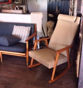MCM Swedish Rocking Chair by Johanson REUPHOLSTERED REFINISHED