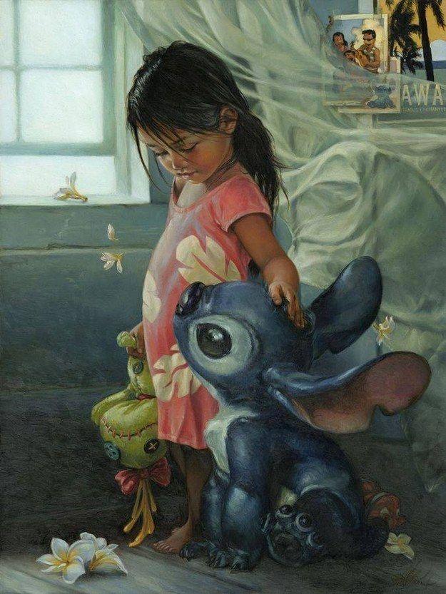 """""""Ohana Means Family"""" - Lilo and Stitch. Normalmente los cuadros que intenta representar la realidad de una forma más realista utilizan el color de forma equilibrada. Pasa así en este cuadro, cuyo contenido es además muy curioso."""