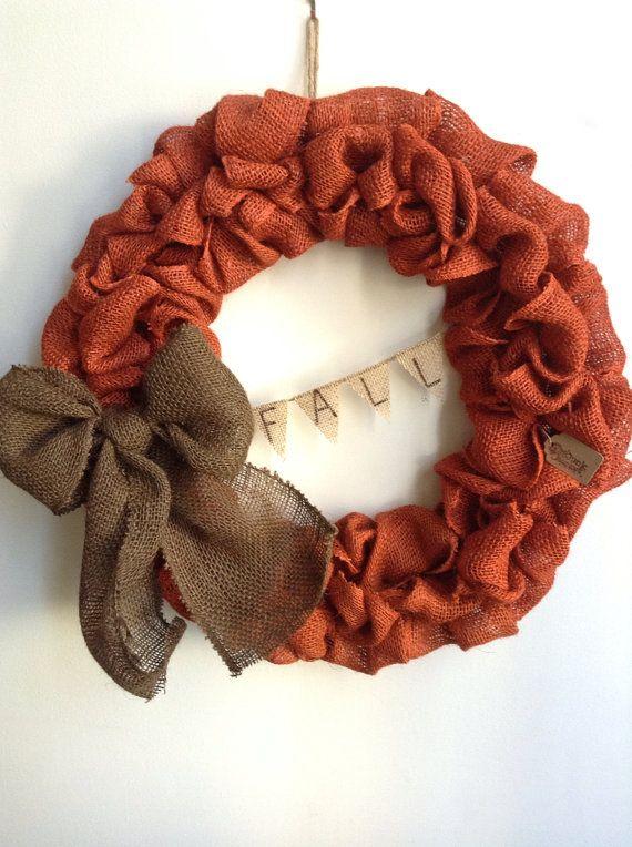 Fall+Burlap+Wreath+LARGE+Wreath+Orange+Burlap+by+JBJunkMarket,+$61.50