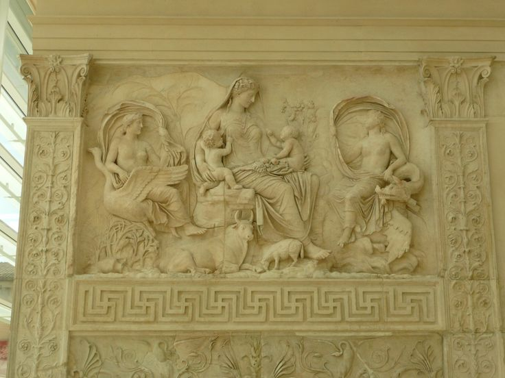 190 Ara Pacis, the Tellus panel: the principal female figure has been identified variously as Italia, Pax, and, more plausibly, Venus (mother of Aeneas, legendary father of the gens Iulia, the clan to which Augustus belonged) or Tellus (Mother Earth), whose name is the one conventionally attached to the panel.