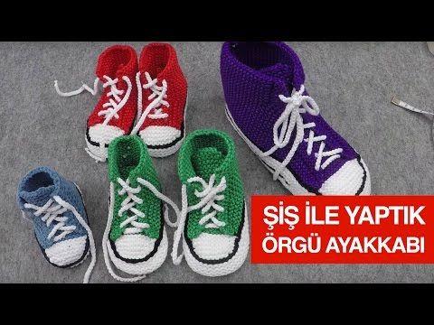 Örgüden Şiş İle Converse Patik Yapımı - Örgü Modelleri - YouTube