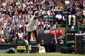 A leaping Venus plays a shot at the net.