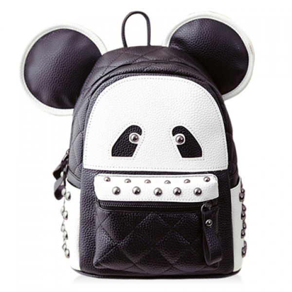 $18.81 Cute Bear Face and Rivets Design Backpack For Women