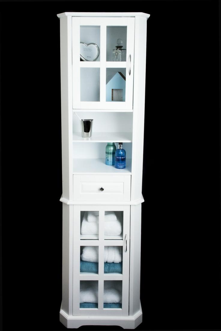 White Wood Storage Cabinet TALL BOY - glazed - bathroom,bedroom - Freestanding
