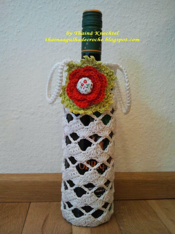 Capa para garrafa de vinho em crochê   Vidros reciclados ...