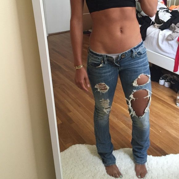 Guess Jeans boot cut distressed jeans Seriously my favorite pair of jeans worn maybe a handful of times and can't fit anymore clearly in the photo  but I wish because they are perfect cut, color and style Guess by Marciano Jeans Boot Cut