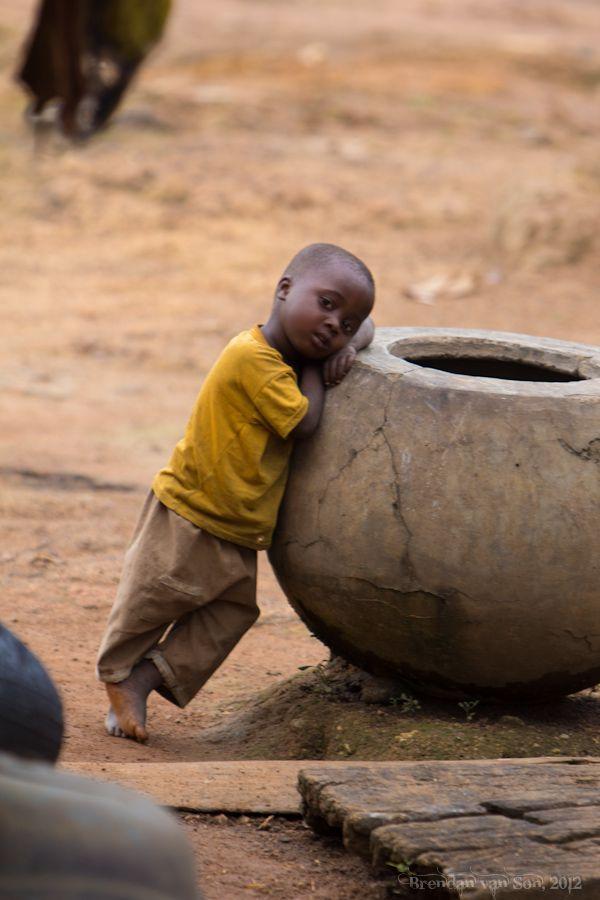 Cute kid in a village in Cote d'Ivoire