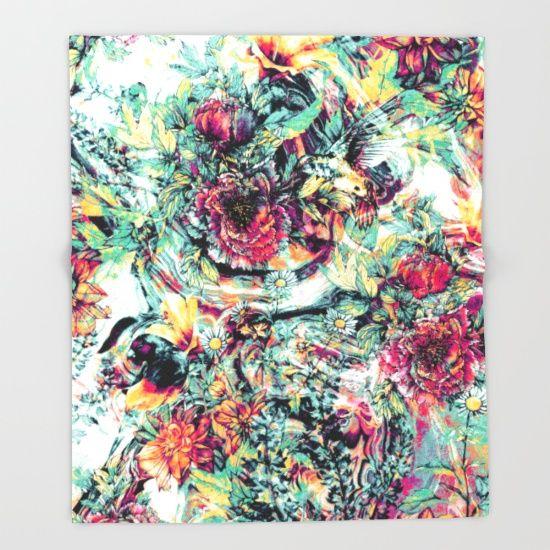 Flowers & Birds Throw Blanket @society6  Society6 ->http://bit.ly/1YU7O1U #society6 #home #decor #HappyNewYear