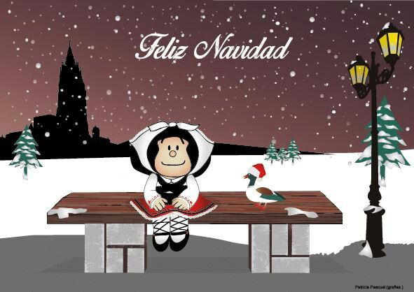 "Postal navidad 2014/2015 realizada para un encargo. ""Mafalda asturiana"" por Patricia Pascual ( gràfias.)"