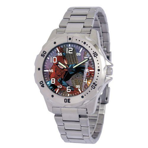 "Marvel Comics Men's MA0710-D191-Bracelet Marvel 'Spider-Man' Defender Watch Marvel Comics. Save 17 Off!. $29.00. Men's Marvel ""Defender"" Watch. Uni-directional rotating bezel. Case diameter: 40.00 mm. Marvel character featured on dial. Water-resistant to 99 feet (30 M)"