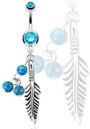 Dream Catcher Feather Belly Button Ring - With Blue Turquoise Semi Precious Stone Beads