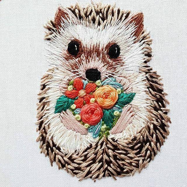 Sweet embroidered hedgehog    Очаровательный ежик, вышивка гладью