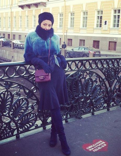Mink Jacket with Blue Armani Fluter Skirt