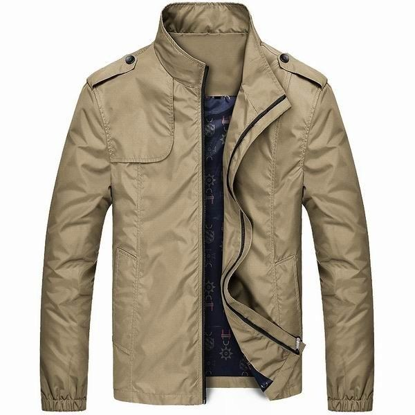 Mens Spring Lightweight Water-repellent Windproof Stand Collar Casual Jacket