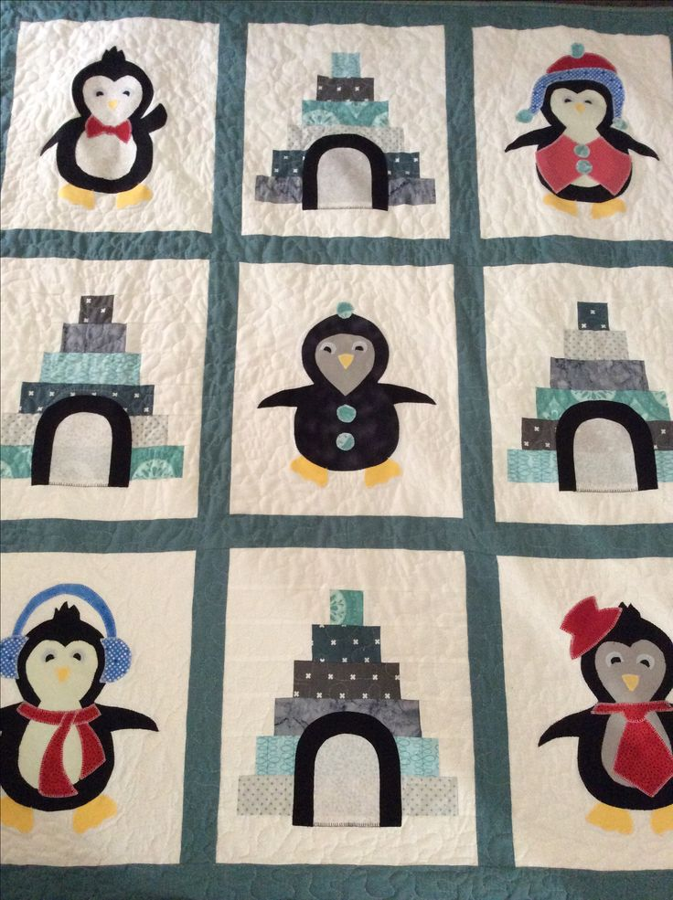 Penguin cot quilt 60 in x 50 in.