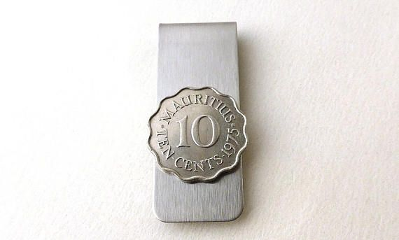 Mauritian coin money clip  1975  Vintage Men's