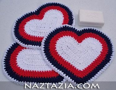 Crochet heart dishcloth and potholder