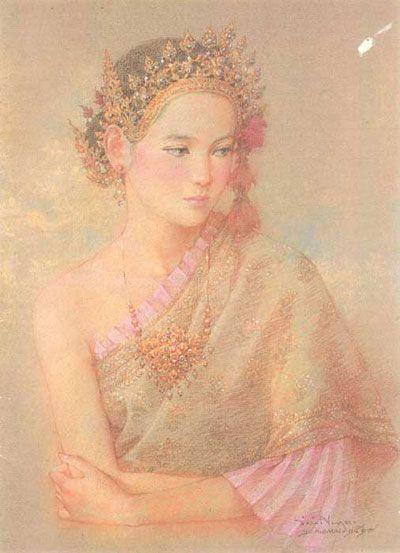 หญิงสาวของ อ.จักรพันธุ์ โปษยกฤต  painting by Prof. Chakrapan Posayakrit, Thai National Artist.