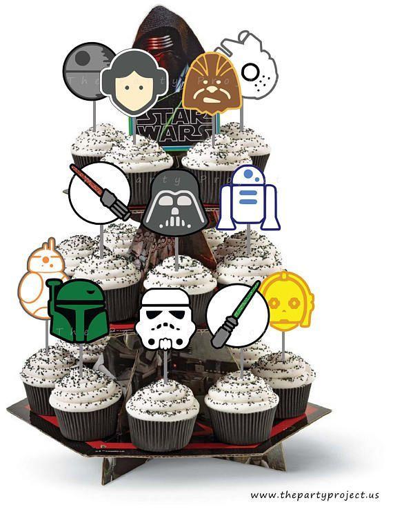 Phenomenal Diy Printable Star Wars Cupcake Toppers Star Wars Birthday Party Funny Birthday Cards Online Amentibdeldamsfinfo
