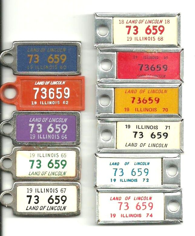 Miniature Illinois license plate tags issued by DAV (Disabled American Veterans) ~ 1960, 1962, 1964, 1965, 1967, 1968-72 and 1974 [private collection]