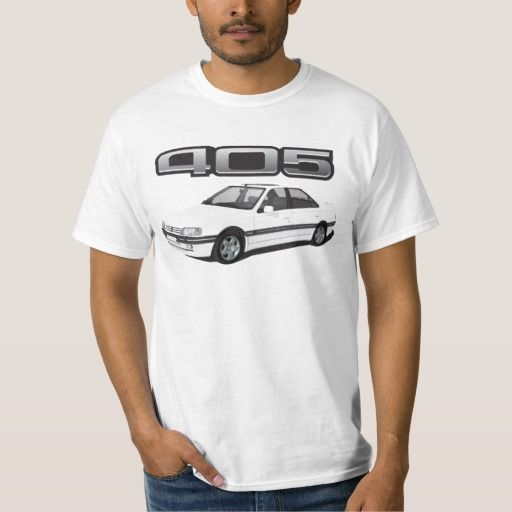 Peugeot 405 with wing + model badge DIY white  #peugeot #peugeot405 #automobile, #car #t-shirt, #print #europe #france #mi16 #405mi16  #white