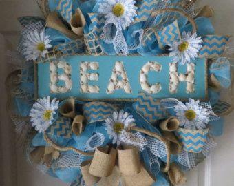 beach mesh wreath   Beach Deco Mesh/Burlap Wreath