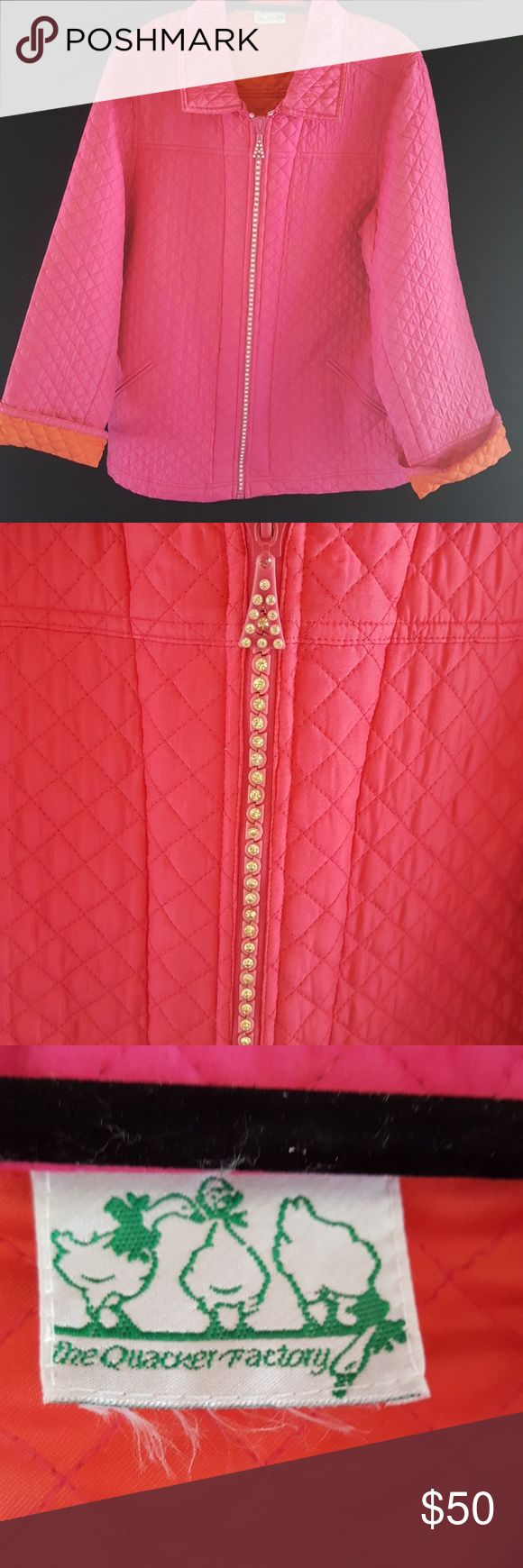 The Quacker Factory pink/orange  jacket The Quacker Factory pink outside/orange lined jacket beautiful diamond/rhinestone embelished zipper the quacker factory Jackets & Coats Puffers