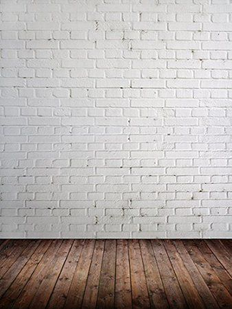 Photo background Vinyl Backdrops for Photography Props 5'x6' [ White Brick Wall with Wood Floor / 125 ] Durable, Wrinkle Free, Matte Vinyl Rolled in Tube - Made In USA